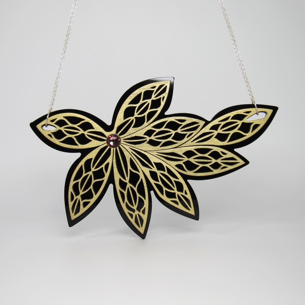 Bamboo Wood and Acrylic Laser Cut Flower Necklace - IntoIt Series