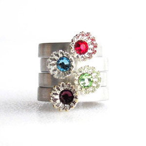 Birthstone Stacking Snowflake Flower Ring - front