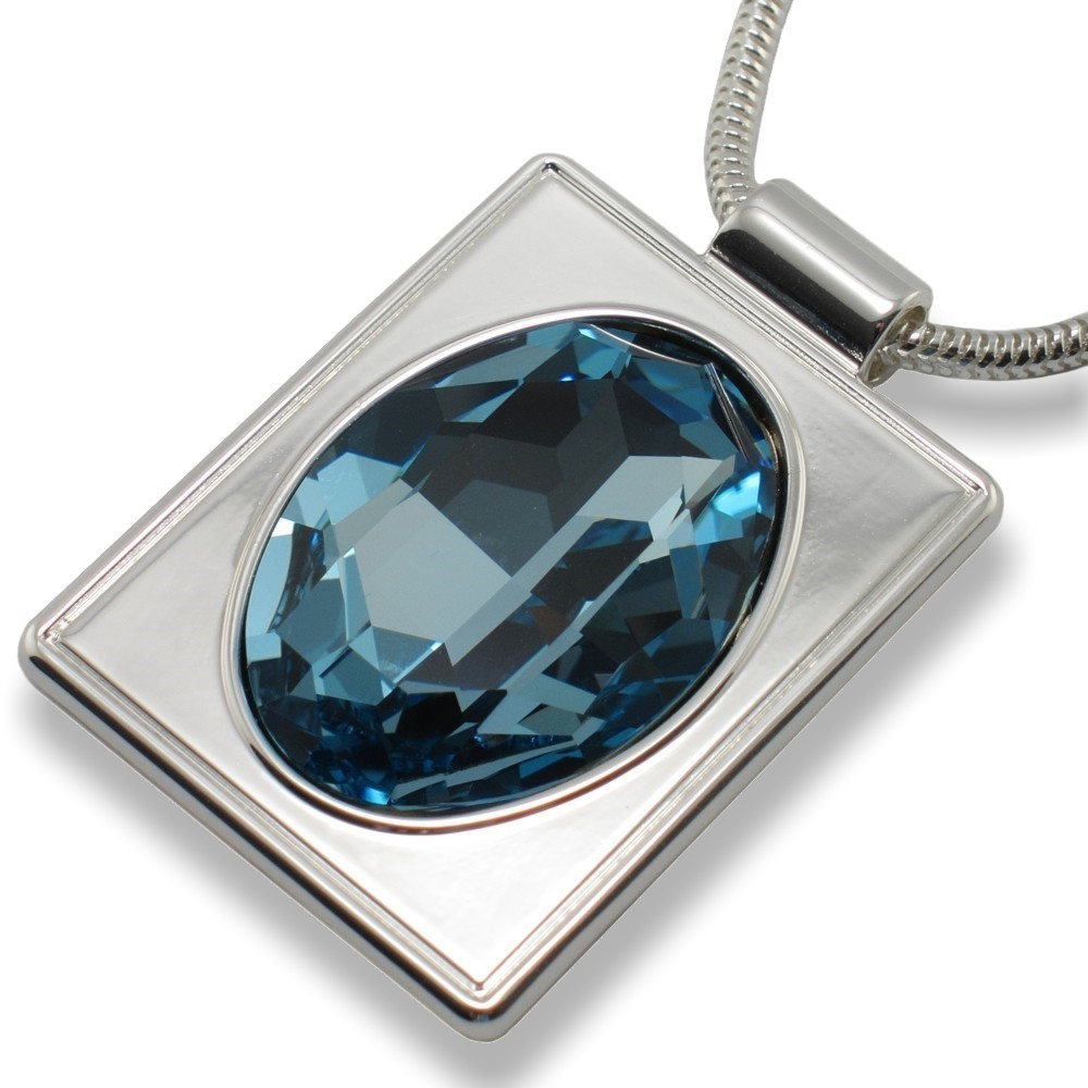 Blesk Blue Crystal Rectangular Pendant Necklace - top 2