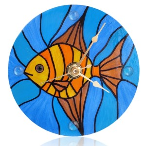 Stained Glass Fish Clock - front