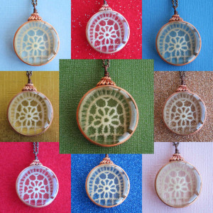 Tender Flower Copper, Lace, and Resin Pendant Necklace Colored Backgrounds