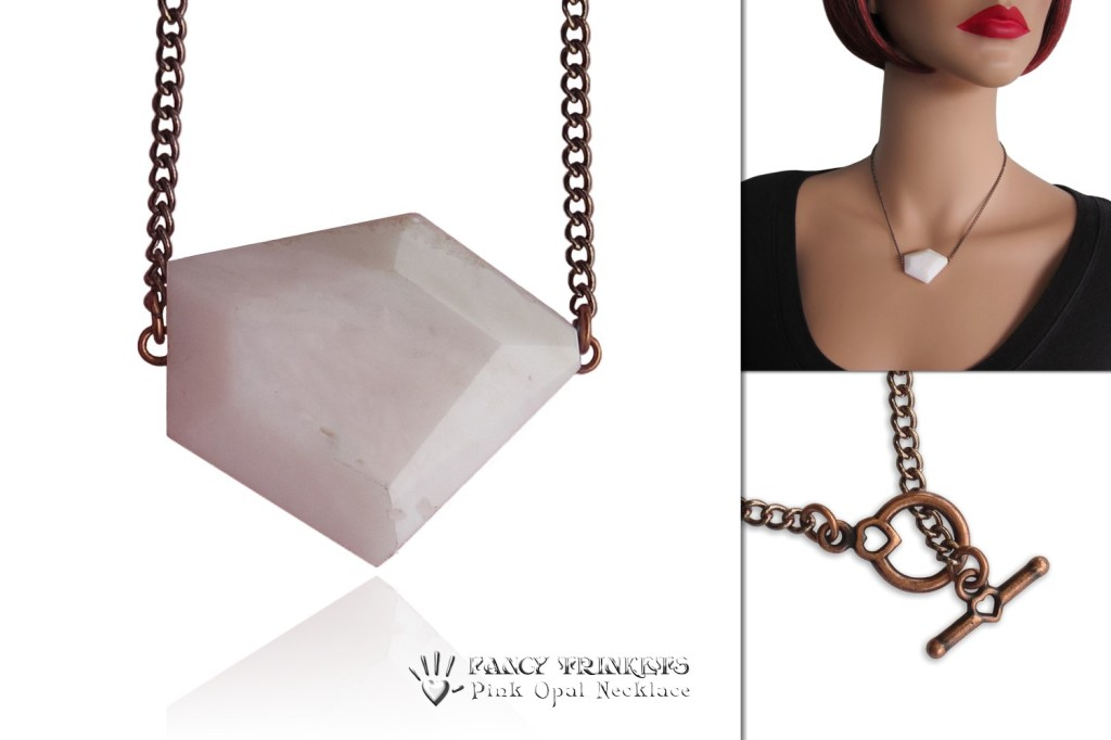 Pink Opal Modern Geometric Necklace - compilation