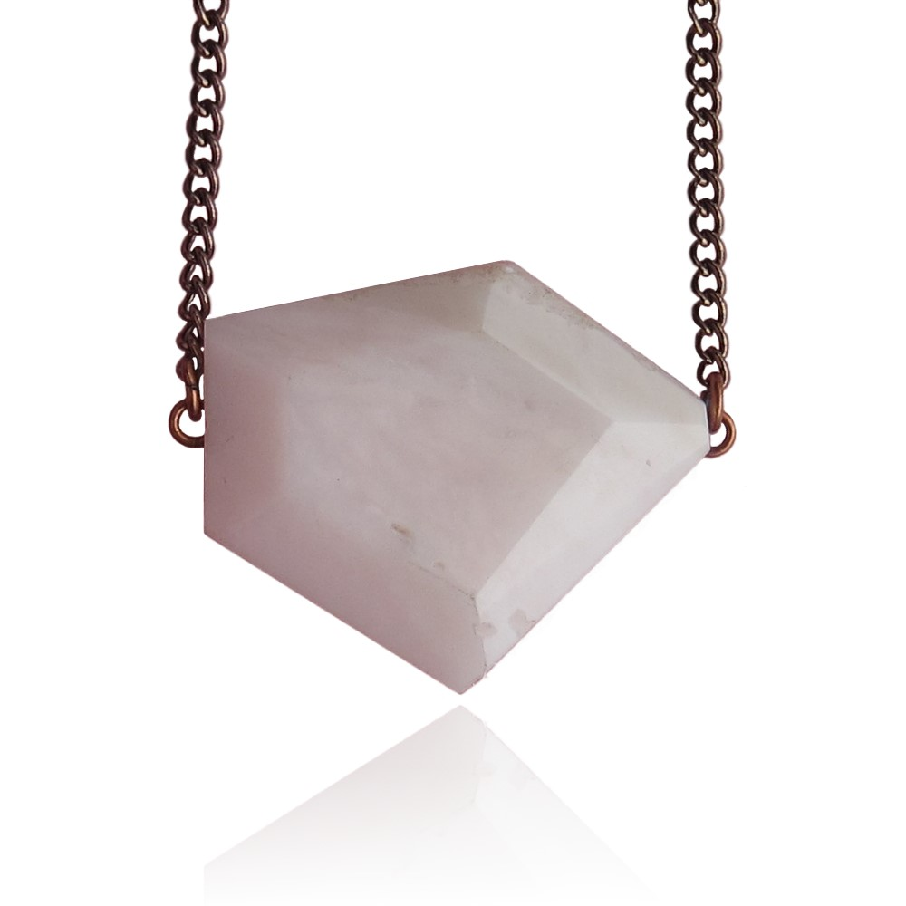 Pink Opal Modern Geometric Necklace - front 4
